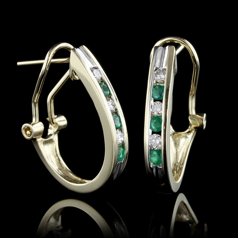14K Yellow Gold Emerald and Diamond Half Hoops