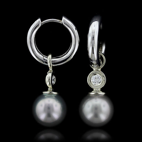 14K White Gold Pearl and Diamond Enhancer Drops