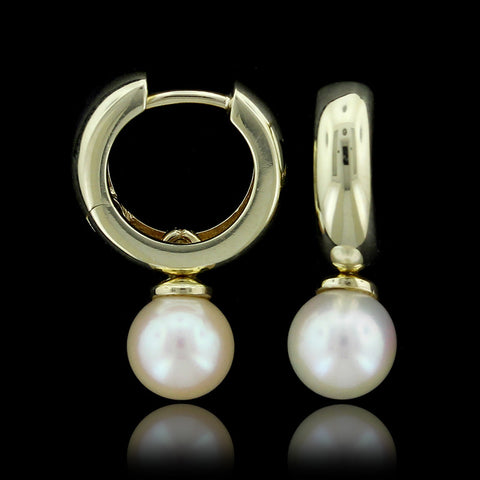 14K Yellow Gold Cultured Pearl Drops