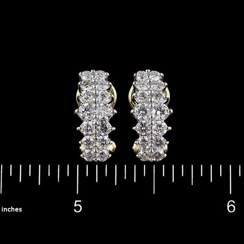 14K Two-Tone Gold Diamond Earrings