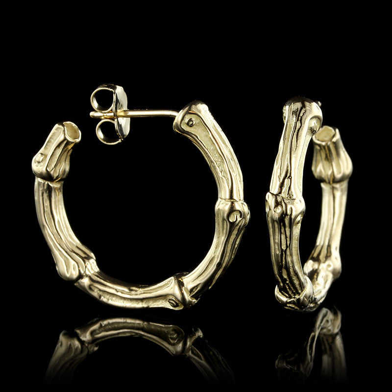 "Tiffany & Co. 18K Yellow Gold Bamboo Hoops. Length 1""."