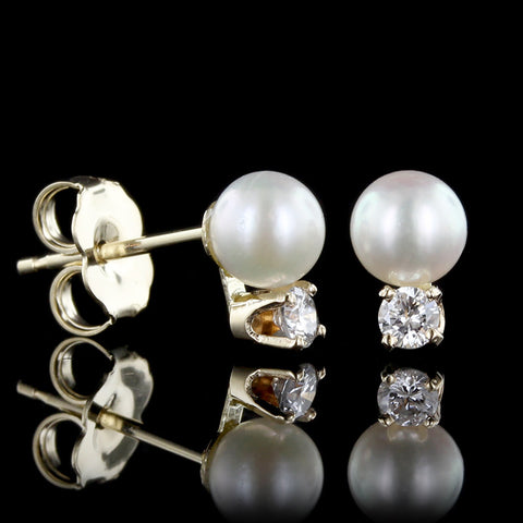14K Yellow Gold Pearl and Diamond Studs