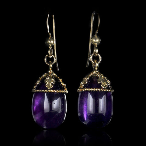 14K Yellow Gold Amethyst Earrings