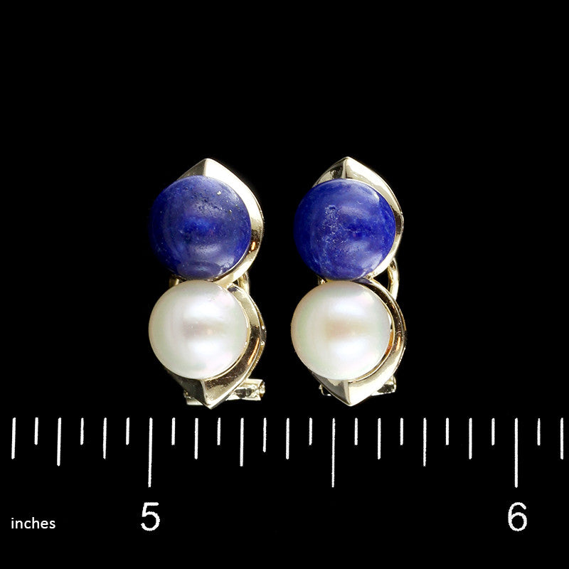 14K Yellow Gold Cultured Pearl and Blue Lapis Earrings