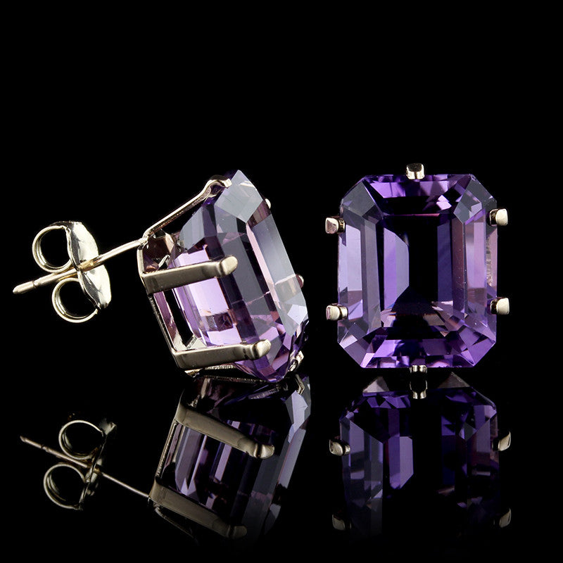 14K Yellow Gold Amethyst Studs