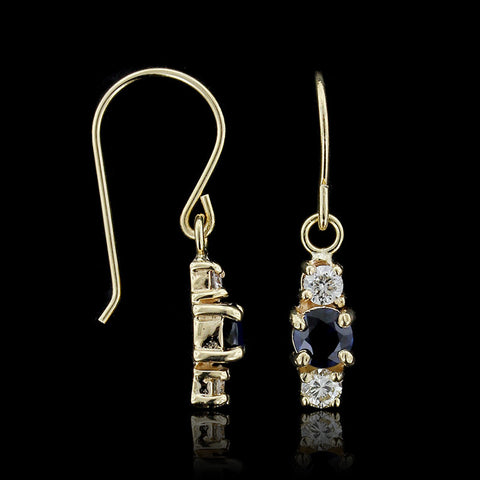 14K Yellow Gold Citrine and Diamond Drop Earrings