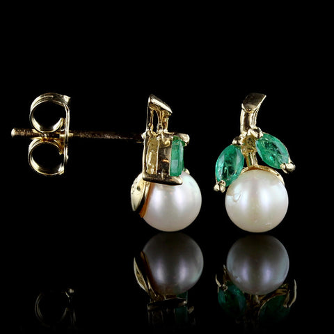 14K Yellow Gold Cultured Pearl and Emerald Earrings