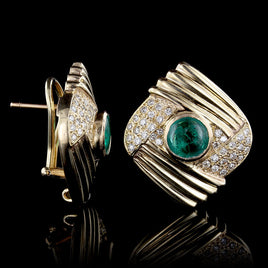 18K Yellow Gold Estate Emerald and Diamond Ring