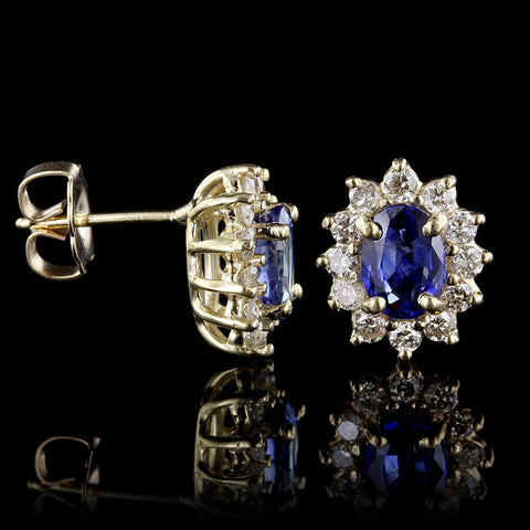 14K Yellow Gold Sapphire & Diamond Drop Earrings