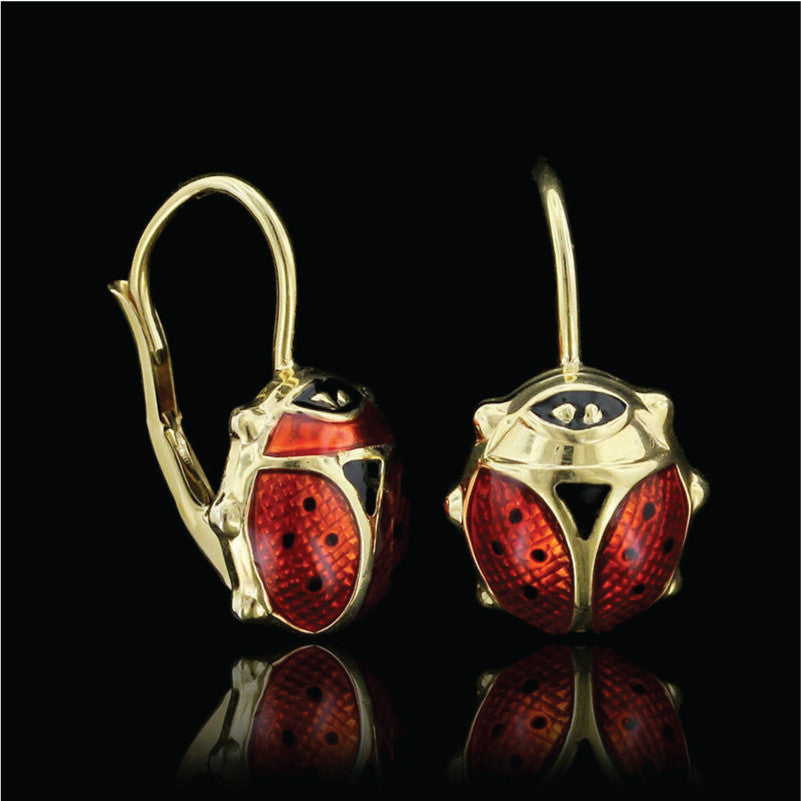 f01c9dff65a06 14K Yellow Gold Enamel Ladybug Earrings