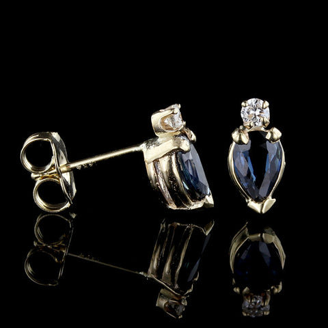 18K Yellow Gold Ruby, Sapphire, Emerald and Diamond Earrings