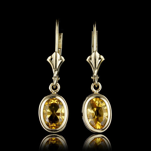 14K Yellow Gold Citrine Earrings