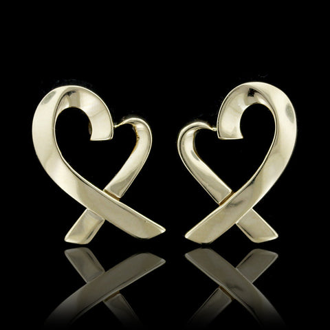 14K Yellow Gold Open Heart Earrings