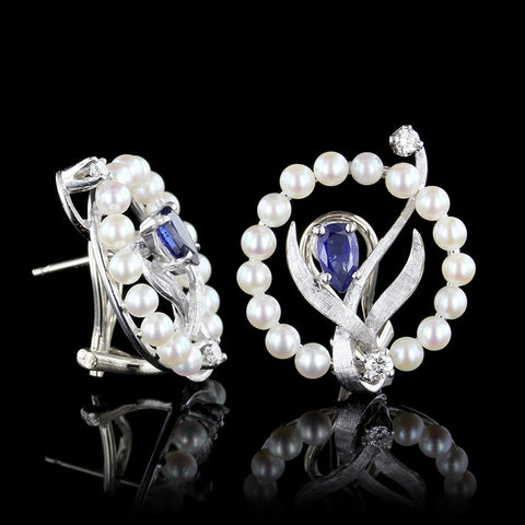 14K White Gold Pearl, Sapphire and Diamond Earrings