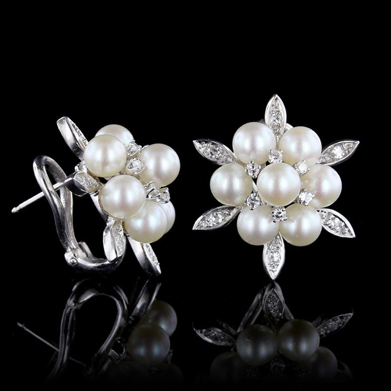 14K White Gold Pearl and Diamond Cluster Earrings