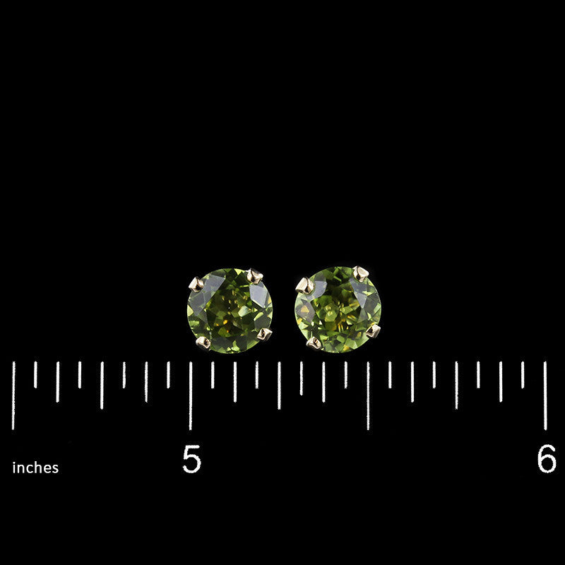 14K Yellow Gold Peridot Studs