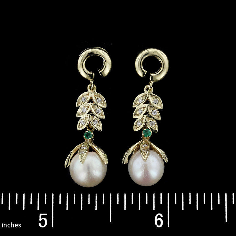 14K Yellow Gold Cultured Pearl, Diamond and Emerald Drops