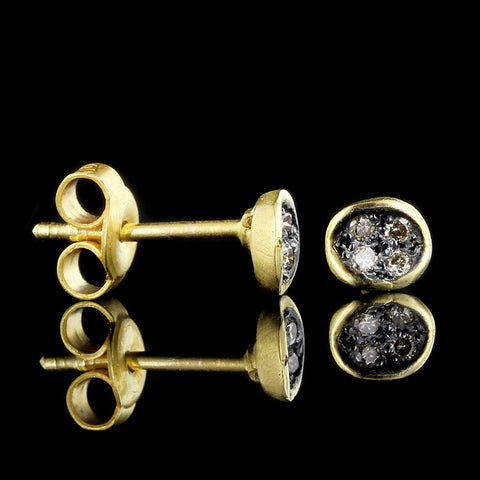 18K Yellow Gold Brown Diamond Studs