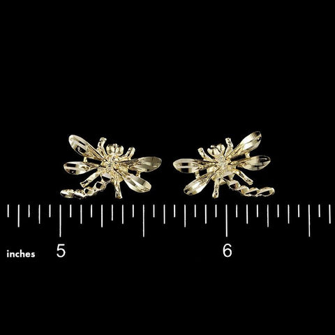 14K Yellow Gold Dragonfly Earrings