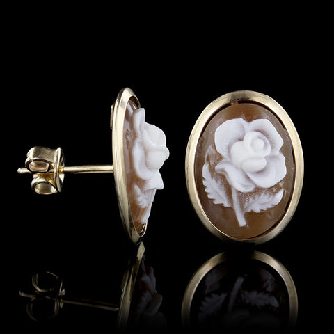 14K Yellow Gold Cameo Rose Earrings