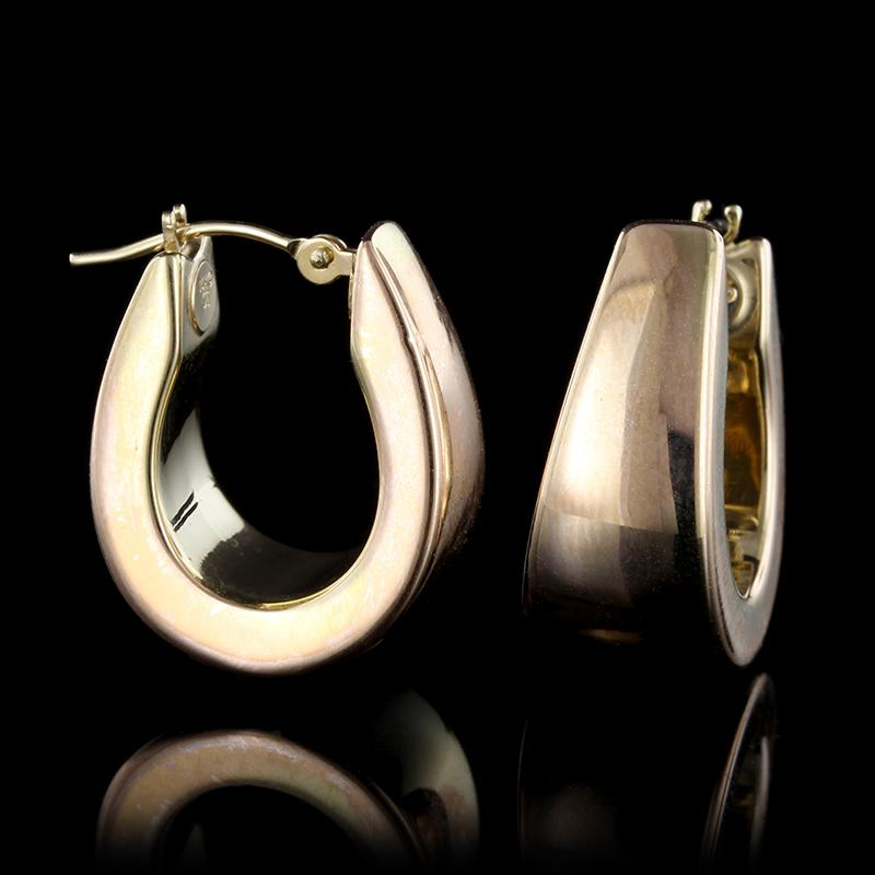 14K Yellow Gold Tapered Hoop Earrings
