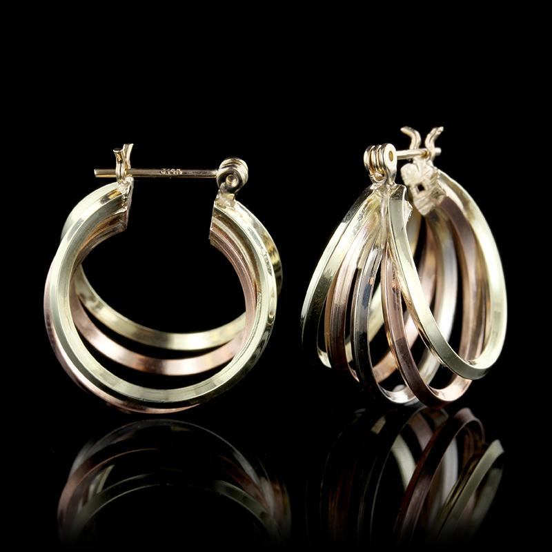 14K Tricolor Gold Hoop Earrings