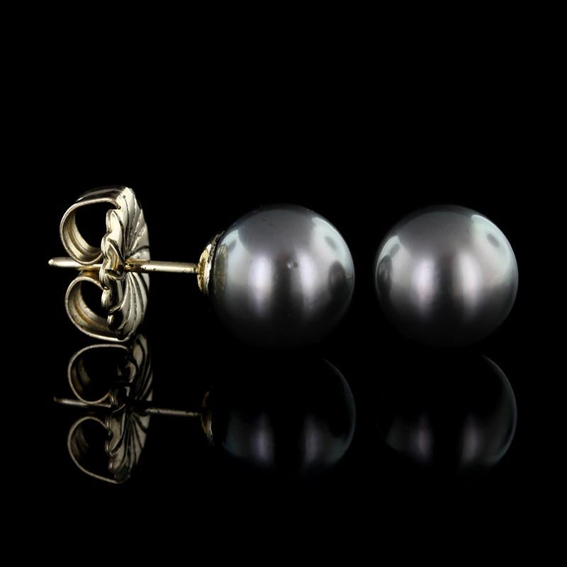 14K Yellow Gold Black Cultured Pearl Studs