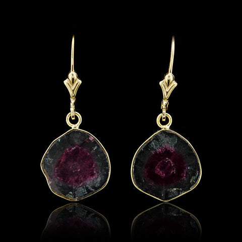 14K Yellow Gold Bicolor Watermelon Tourmaline Slice Earrings