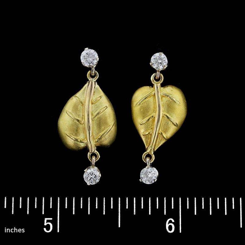 18K Two-Tone Gold Diamond Leaf Earrings