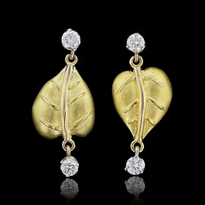 18K Two-tone Gold Diamond Leaf Drops