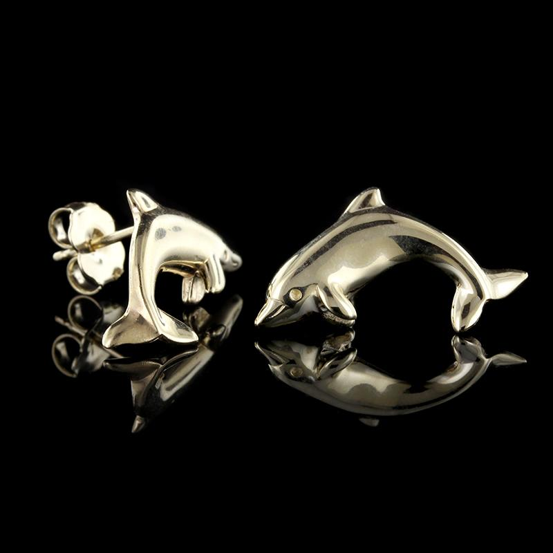 14K Yellow Gold Dolphin Earrings