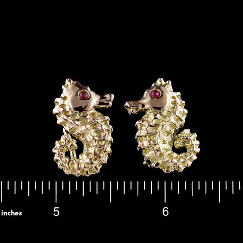 14K Yellow Gold Seahorse Earrings