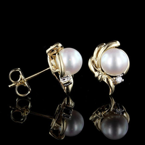 14K Yellow Gold Pearl and Diamond Earrings