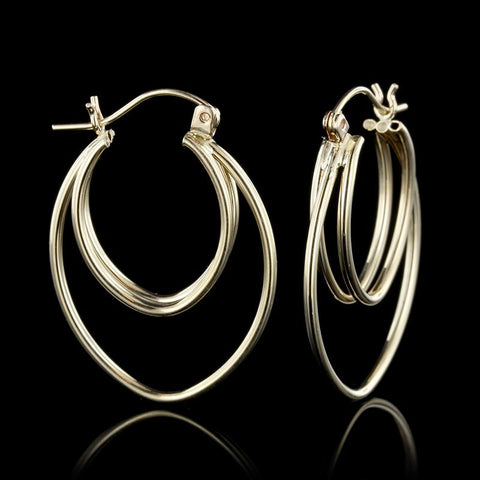 14K Yellow Gold Double Hoop Earrings