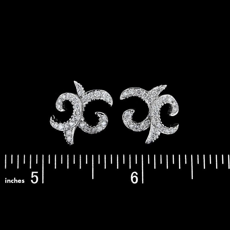 Doris Panos 18K White Gold Diamond Earrings