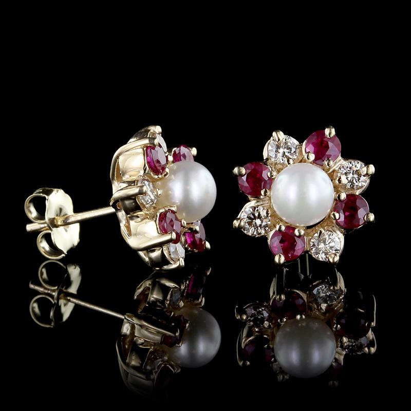 14K Yellow Gold Cultured Pearl, Ruby and Diamond Earrings