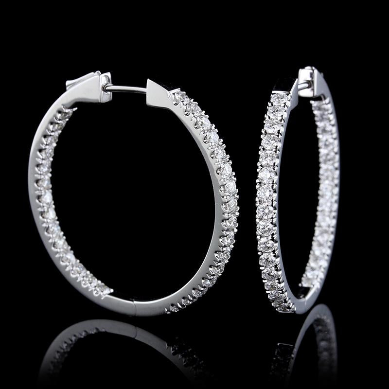 14K White Gold Inside Outside Diamond Hoops