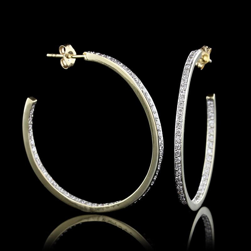 14K Yellow Gold Diamond Inside Out Hoop Earrings