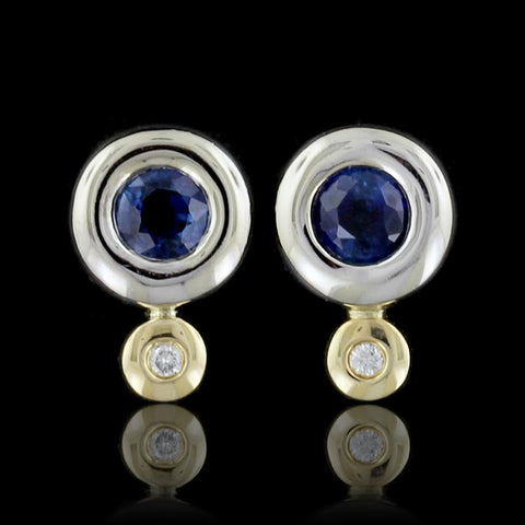 14K Two-Tone Gold Sapphire and Diamond Earrings