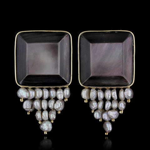 Donna Chambers 14K Yellow Gold Black Mother of Pearl and Freshwater Pearl Earrings