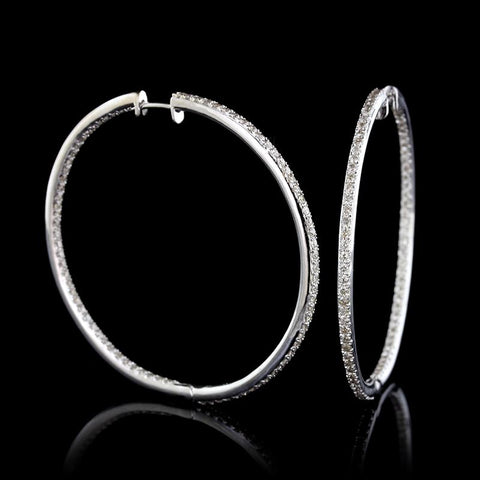 14K White Gold Estate Diamond Inside Out Hoop Earrings