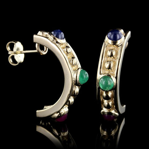 14K Yellow Gold Emerald, Ruby and Sapphire Earrings