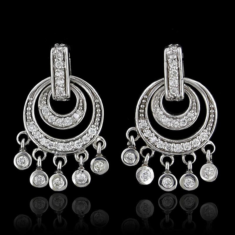 14k White Gold Diamond Chandelier Earrings