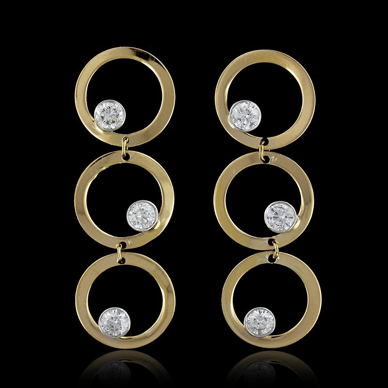 14K Yellow Gold Diamond Circle Earrings