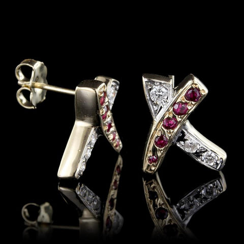 14K Yellow Gold Ruby and Diamond 'X' Earrings