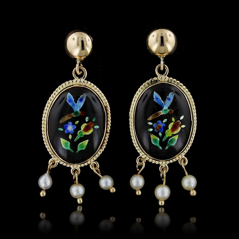 14K Yellow Gold Enamel and Cultured Pearl Earrings