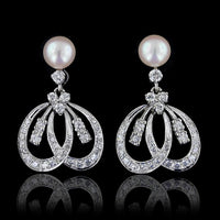 14K White Gold Estate Cultured Pearl and Diamond Earrings