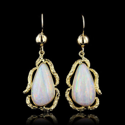 18K Yellow Gold Pear Shaped Opal Drops