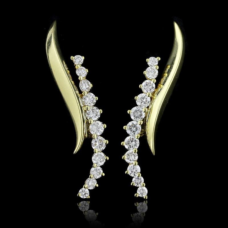 Jose Hess 18K Yellow Gold Diamond Earrings