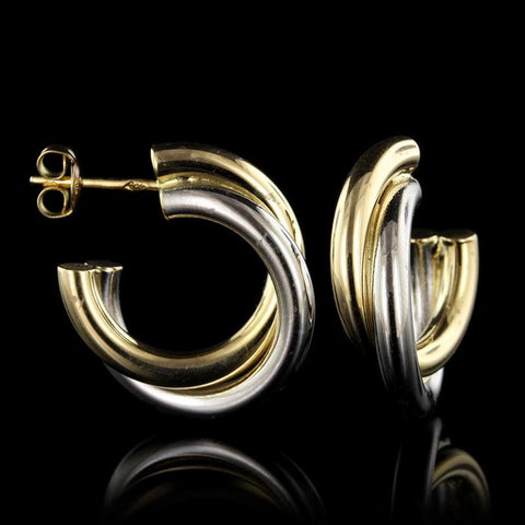 18K Two-Tone Gold Estate Twist Earrings